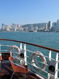 Cruise ship-9347. On the deck of a ship with hong kong skyline in the background Stock Photo