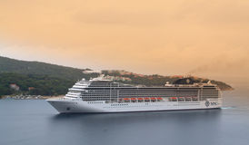 Cruise ship in Adriatic sea Stock Photo