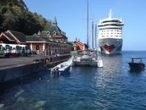 The cruise ship aida calling at kingstown stock video