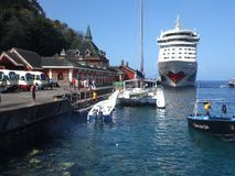 The cruise ship aida calling at kingstown stock video footage