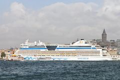 Cruise Ship AIDA Diva. AIDA's Diva, docked in port on September 19, 2011 in Istanbul. Karakoy Port receives 15,000 passengers in only one day with 5 cruise Stock Photography