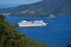 Cruise ship AIDAdiva in Marmaris bay, Turkey Royalty Free Stock Image