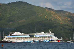 Cruise ship AIDAdiva in Marmaris bay, Turkey Stock Image