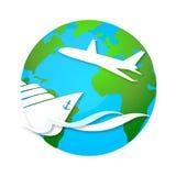 Cruise ship and airplane travel symbol Stock Photos