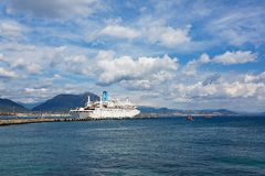 Cruise ship in Alanya harbor Royalty Free Stock Photography
