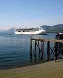 Cruise ship, Alaska. Cruise ship anchored off Hoonah village, Southeast Alaska Stock Photography