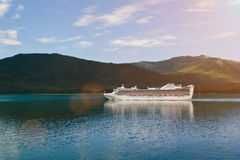 Cruise ship in alaska. Destination landscape in sunny day royalty free stock photo