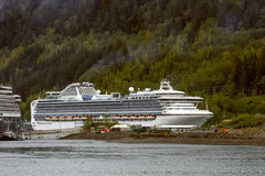 Cruise Ship by Alaska Evergreens Stock Images