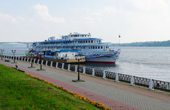 Cruise ship Alexandre Benois on river quay in Kostroma, Russia Royalty Free Stock Image