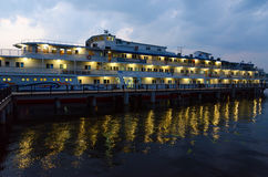 Cruise ship Alexandre Benois on river quay at night, Ples Stock Images