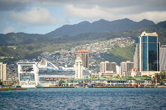 Cruise Ship at Aloha Tower, Honolulu, Hawaii Royalty Free Stock Image