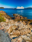 Cruise ship along Acadia National Park Royalty Free Stock Photos
