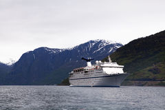 Cruise Ship at Anchor, Flam, Norway Stock Photo