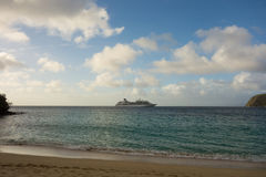 A cruise ship at anchor in the windward islands Stock Image