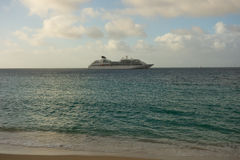 A cruise ship at anchor in the windward islands Stock Photo