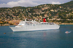 Cruise Ship Anchored. A photo of a cruise ship at anchor in the harbor at Nice, France Stock Image