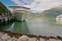 Cruise ship anchored Stock Photography