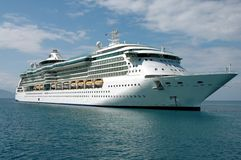 Cruise Ship Anchored. Off the coast of an island in the Caribbean Royalty Free Stock Images