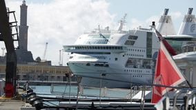 A cruise ship anchored in the ancient port. stock video footage