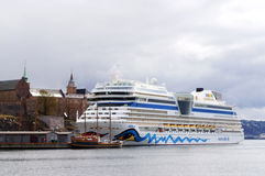 Cruise ship anchored in harbour Oslo, Norway Stock Photos