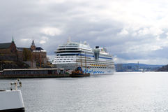 Cruise ship anchored in harbour Oslo, Norway Royalty Free Stock Images