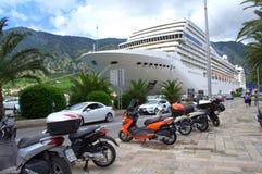 Cruise ship anchored at Kotor,Montenegro Royalty Free Stock Photos