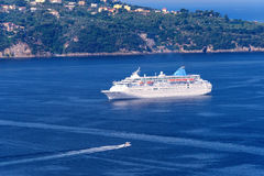 Cruise Ship Anchored in the Mediterranean Royalty Free Stock Photography