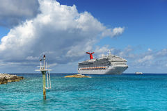 Cruise Ship Anchored Near Shore Royalty Free Stock Images