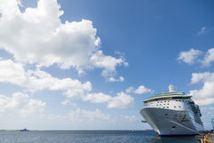 Cruise Ship Anchored at Pier with Beautiful Sky Royalty Free Stock Photography