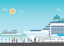 Cruise ship anchored  at sea port with cruise peopl in line. Stock Image