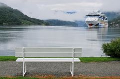 Cruise ship anchored in Ulwik fjord Stock Photography