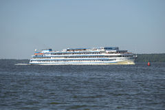 The cruise ship Andrei Rublev at the Uglich reservoir on a summer day Stock Image