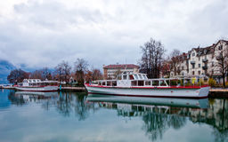 Cruise Ship at Annecy Canal, France Royalty Free Stock Image