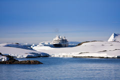 Cruise ship in Antarctica Stock Images