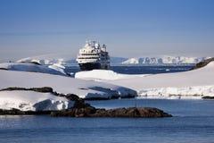 Cruise ship in Antarctica Stock Photography