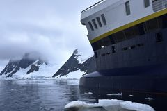 Cruise ship in antartica region Stock Photo