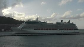 Cruise ship approaches St Maarten stock video footage