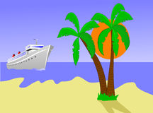 Cruise Ship Approaching Island Stock Photography