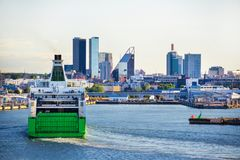 Cruise ship arrival in port of Tallinn, Estonia Stock Image
