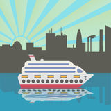 Cruise ship arrives in port. Sunset. City silhouette reflected in the water. Royalty Free Stock Image