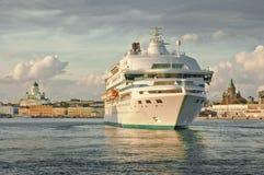 Cruise ship arriving at Helsinki port Stock Images