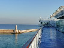 Cruise ship arriving to Livorno (Leghorn) harbour Royalty Free Stock Photos