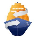 Cruise ship and arrow Stock Photo