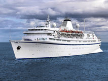 Cruise Ship B1. Passenger cruise ship cruising the calm ocean wave Royalty Free Stock Image