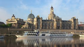 Cruise ship on the background of the Academy of Arts. Dresden, Germany