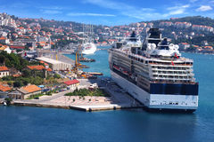 Cruise ship on the background of the Dubrovnik Royalty Free Stock Photo