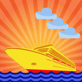 Cruise ship on the background of the rising sun. Royalty Free Stock Images
