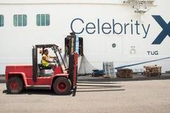 Cruise Ship Baggage Loading Stock Image
