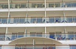 Cruise ship balconies. Cruise ship rooms with balconies royalty free stock photos