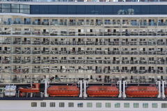 Cruise ship. Balconies and boats zoomed in Royalty Free Stock Images